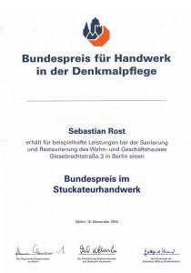 Bundesdenkmalpreis Urkunde